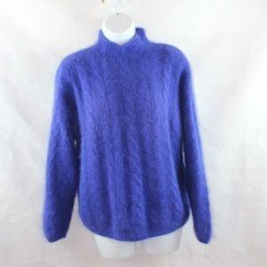 Kenji Angora Cable Knit Mock Turtleneck Sweater